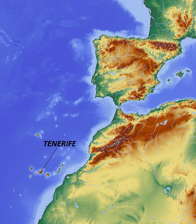 Teneriffa Afrikas kust karta